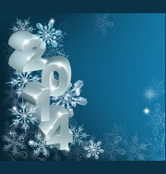 new year or christmas 2014 snowflakes background vector image