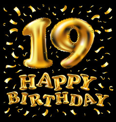 Number 19 gold celebration candle and gift box vector