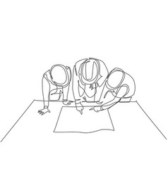 one single line drawing young architects vector image