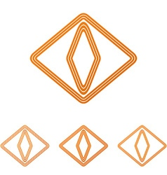 Orange cat eye logo design set vector image