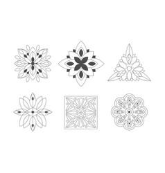 ornamental graphic flowers geometric shapes set vector image