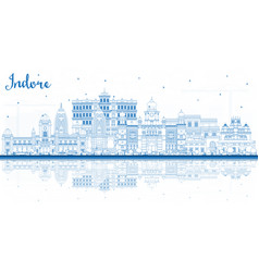 Outline indore india city skyline with blue vector