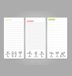 Pages for notes tags cards with cute line vector