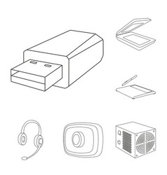 personal computer outline icons in set collection vector image