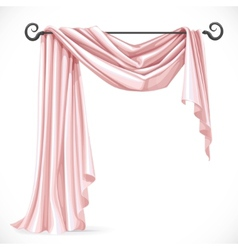 Pink asymmetric curtains on the ledge forged vector image
