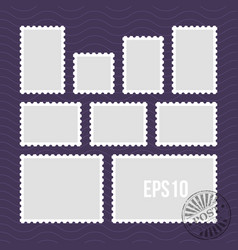 postage stamps with perforated edge and mail stamp vector image