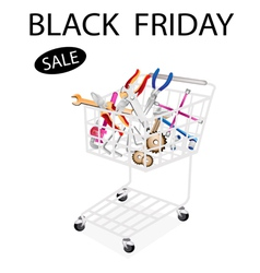 Repair Tool Kits in Black Friday Shopping Cart vector image