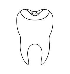 Restored tooth with root in monochrome silhouette vector