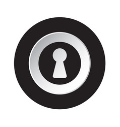 round black and white button - keyhole icon vector image