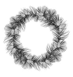 round wreath of fir in black and white christmas vector image