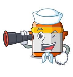 Sailor with binocular electric rice cooker vector