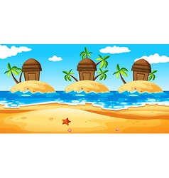 Scene with huts on island vector