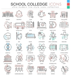 School and colledge ultra modern outline vector