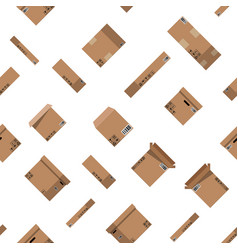 seamless cardboard boxes set pattern vector image
