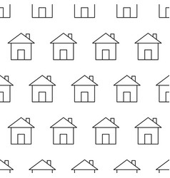 seamless pattern from house icon black contour on vector image