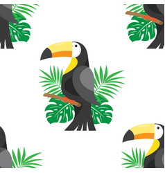 seamless pattern with leafs and toucan vector image
