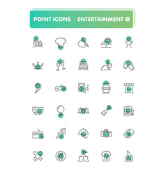 set of 30 line icons leisure and entertainment vector image