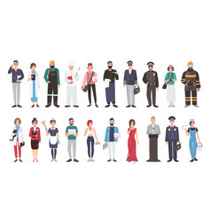Set of different people profession flat vector