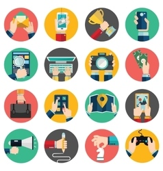 Set of hands using business internet service vector