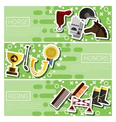Set of Horizontal Banners about horse riding vector image