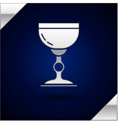 Silver jewish goblet icon isolated on dark blue vector