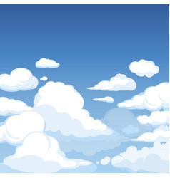 sky with fluffy clouds clean blue panorama vector image