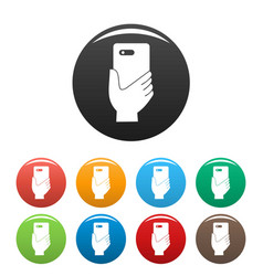 smartphone in hand icons set color vector image