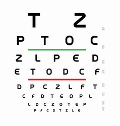 snellen chart template table with letters for an vector image