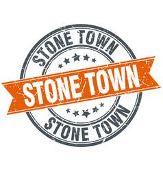 Stone town red round grunge vintage ribbon stamp vector