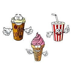 Takeaway cartoon coffee soda ice cream vector image