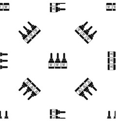 Three tattoo ink bottles pattern seamless black vector