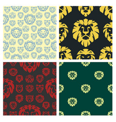 tiger and lions face seamless pattern background vector image