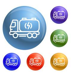 Truck energy icons set vector