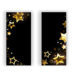 two banners with small gold stars vector image