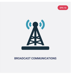 Two color broadcast communications tower icon vector