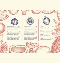 Vegan restaurant menu hand drawn design vector
