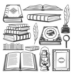 Vintage book elements collection vector