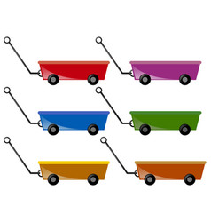 Wagon in six colors vector