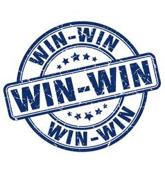 Win-win blue grunge round vintage rubber stamp vector