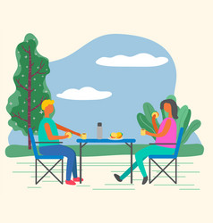 Woman and man on outdoor picnic summer camping vector