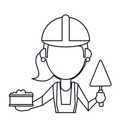 woman construction with brick and spatula thin vector image