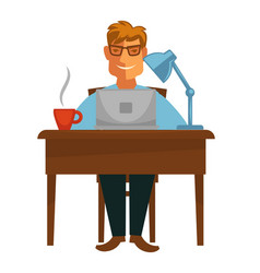 Writer with laptop at desk coffee cup and lamp vector