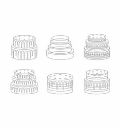 cakes set thin line style vector image vector image