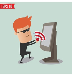Hacker sniff wireless network for computer vector image
