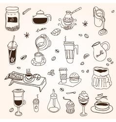 Hand drawn sketch doodle vintage simple coffee vector image vector image