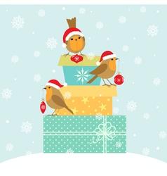 Robins and Christmas gifts vector image vector image