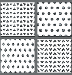 Set of four watercolor simple patterns vector image vector image