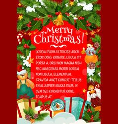 christmas card of winter holiday gift and garland vector image