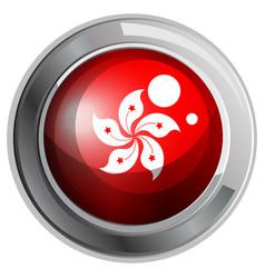 hongkong flag on round badge vector image vector image