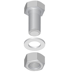Stainless steel bolt and nut vector image